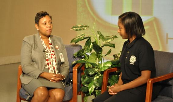 The Main Street Journal Editor-in-Chief, Meghan Brown, interviews Acting Chief Operating Officer for PGCPS, Monica Goldson about the new Common Core State Standards. Photographer/Elise Carter