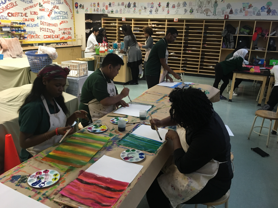 Club members working on bowl covers