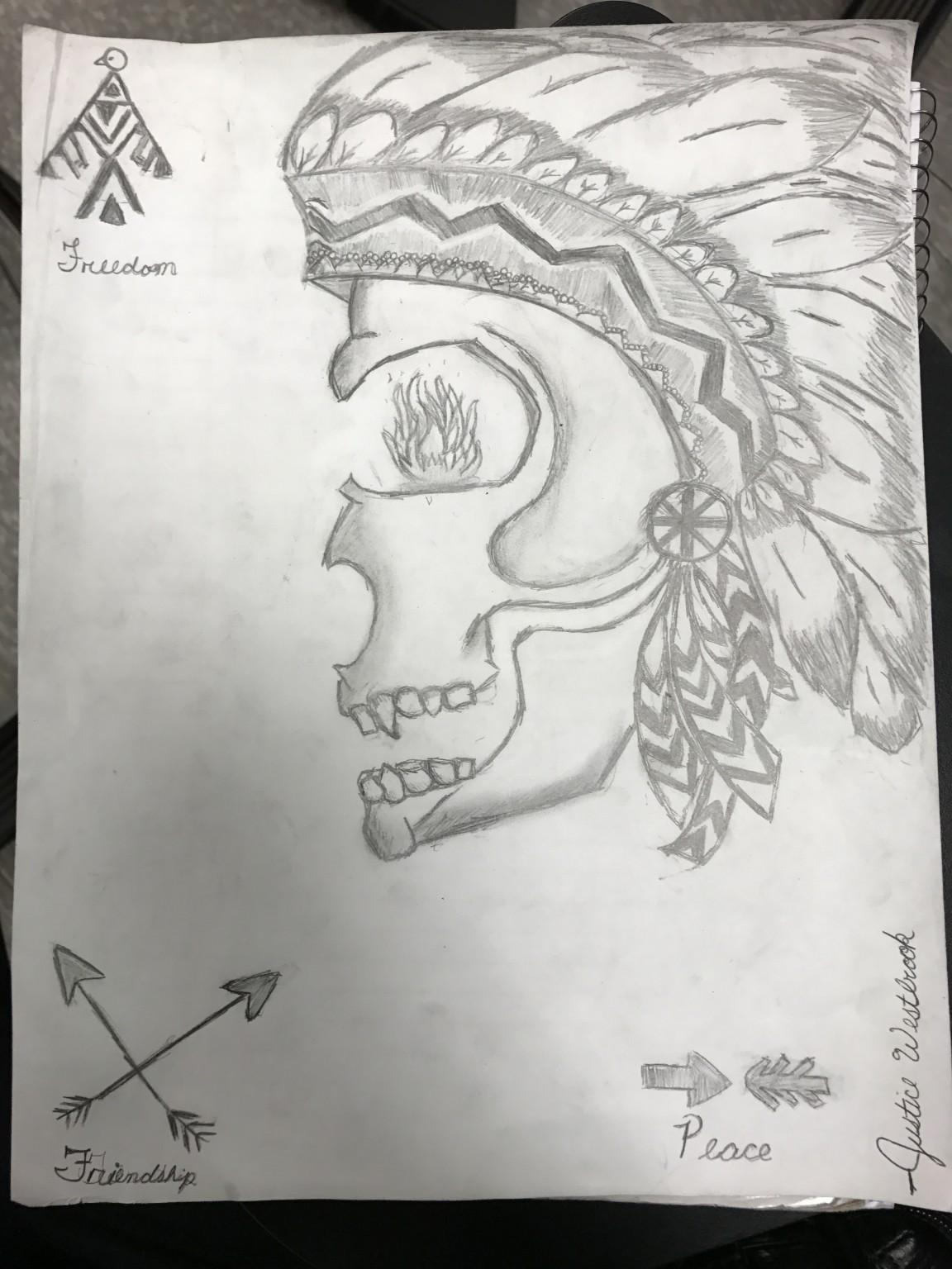 """A drawing by Justice Westbrook. """"Native American Skull with Native American symbols drawn around.¨"""