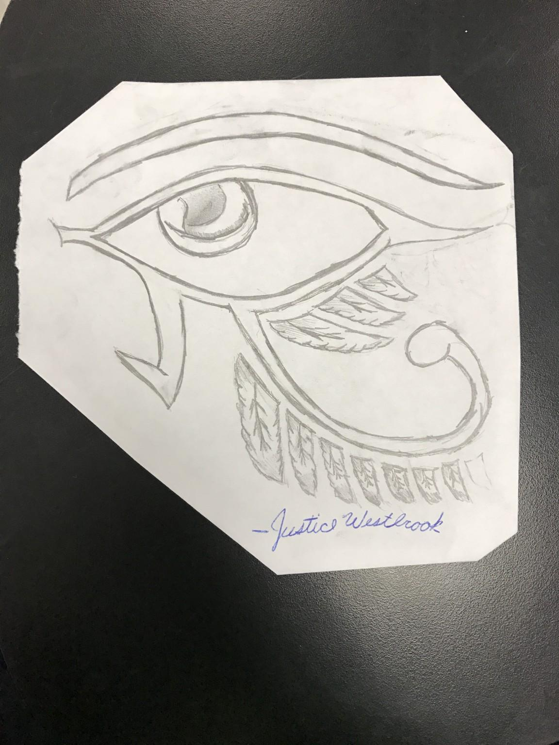A drawing by Justice Westbrook.¨Eye of Horus.¨