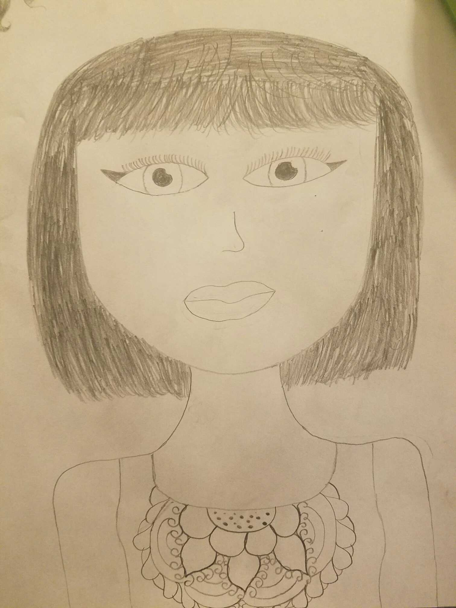 """A drawing by Jordan House. """" A drawing of a person with a flower design."""""""