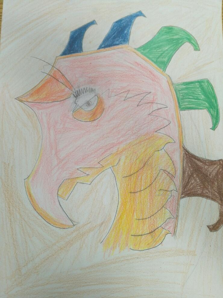 """A drawing of Destiny Dennis. """" A drawing of a dragon."""""""
