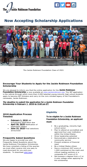 Jackie Robinson Foundation Scholarship 2018