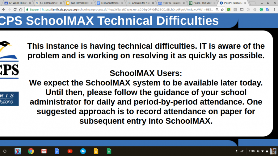 PGCPS Schoolmax Technical Difficulties