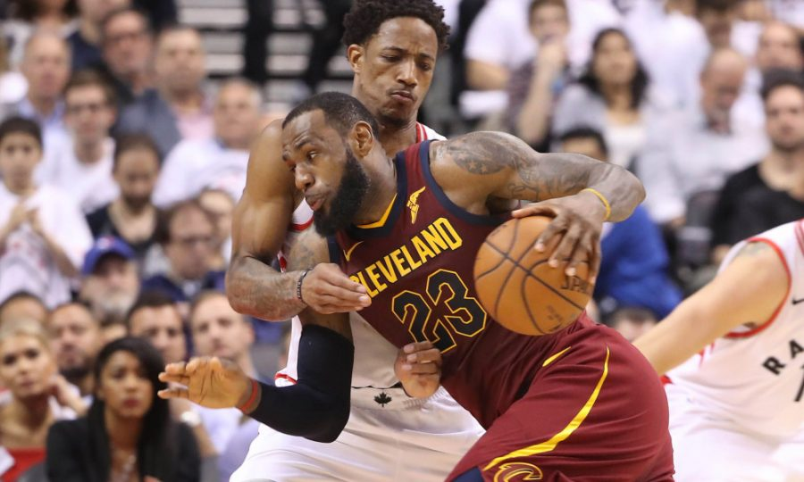 May 3, 2018; Toronto, Ontario, CAN; Cleveland Cavaliers forward LeBron James (23) moves to the basket against Toronto Raptors guard DeMar DeRozan (10) in game two of the second round of the 2018 NBA Playoffs at Air Canada Centre. The Cavaliers beat the Raptors 128-110. Mandatory Credit: Tom Szczerbowski-USA TODAY Sports ORG XMIT: USATSI-381794 ORIG FILE ID:  20180503_gav_sx9_037.jpg