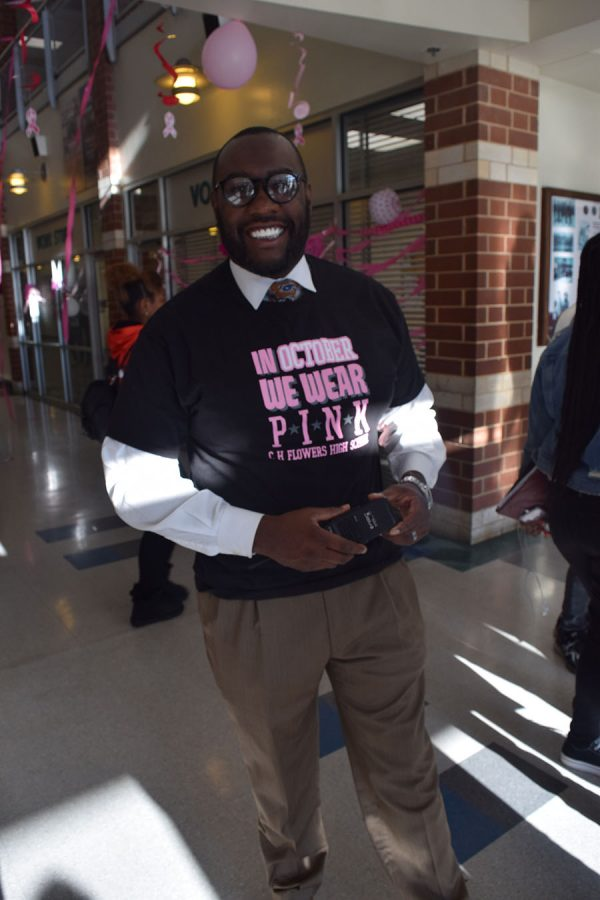 Dr. Gorman Brown sports his support of students demonstrating