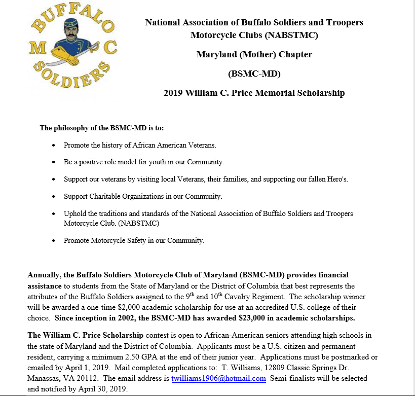 Buffalo Soldiers Motorcycle Club Scholarship
