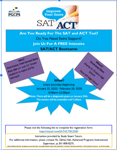 SAT/ACT Bootcamp Flyer