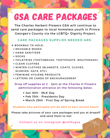 One of the flyers for GSA care packages, which are hosted every few months.